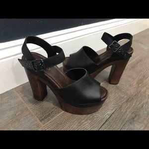 Aldo black & brown thick heel